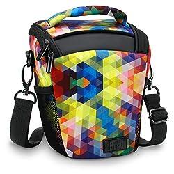 USA Gear Kameratasche für Spiegelreflexkameras - Colttasche mit Verstellbarem Schulterriemen, Abnehmbarem Regenschutz und Wetterfesten Unterseite für Optimalen Schutz Ihrer SLR, DSLR - Geometrisch