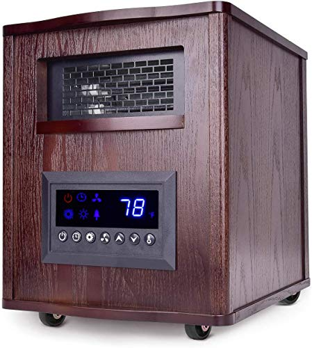 Electric Space Heater - 1500W Infrared Heater with Temperature Control, Remote&Timer, Thermostat Heater with Eco Mode, Overheat&Tip-Over Shut Off Protection, Cabinet Heater for Home, Wood, L, Brown