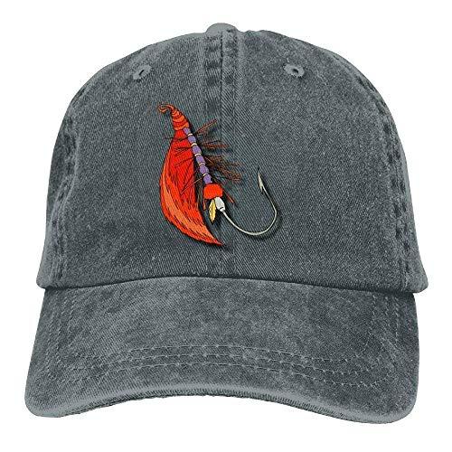 Hoswee Unisex Kappe/Baseballkappe, Fly Fishing Lure Denim Hat Adjustable Men's Mini Baseball Cap