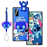 MME Cartoon Case for Galaxy A01 - Stitch Pink Pig Case Cute 3D Character Case Soft TPU with Phone Stand Holder and Neck Strap Lanyard for Girls (Blue Stitch, A01)