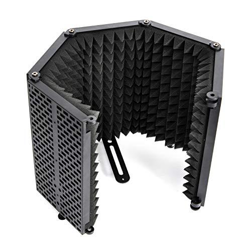 Moman Mikrofon-Isolation-Schallschutz-Pop-Filter RF30, Faltbar Insolation Shield, 5 Seiten Mic Isolationsschirm Isolationsschutz, 3-Schicht Tragbar Absorbierend Schaum für...