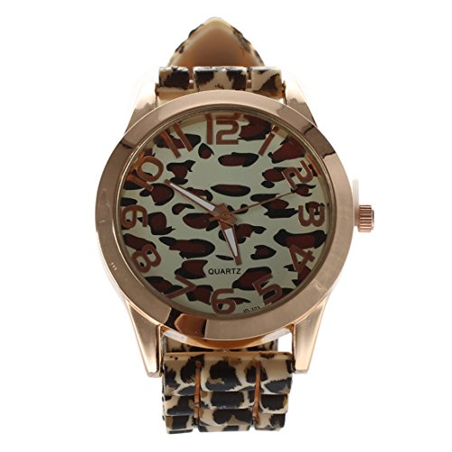 Reloj de mujer - GENEVA Informal Reloj de pulsera de cuarzo de silicona de jalea de leopardo de mujer (Amarillo + Oro)