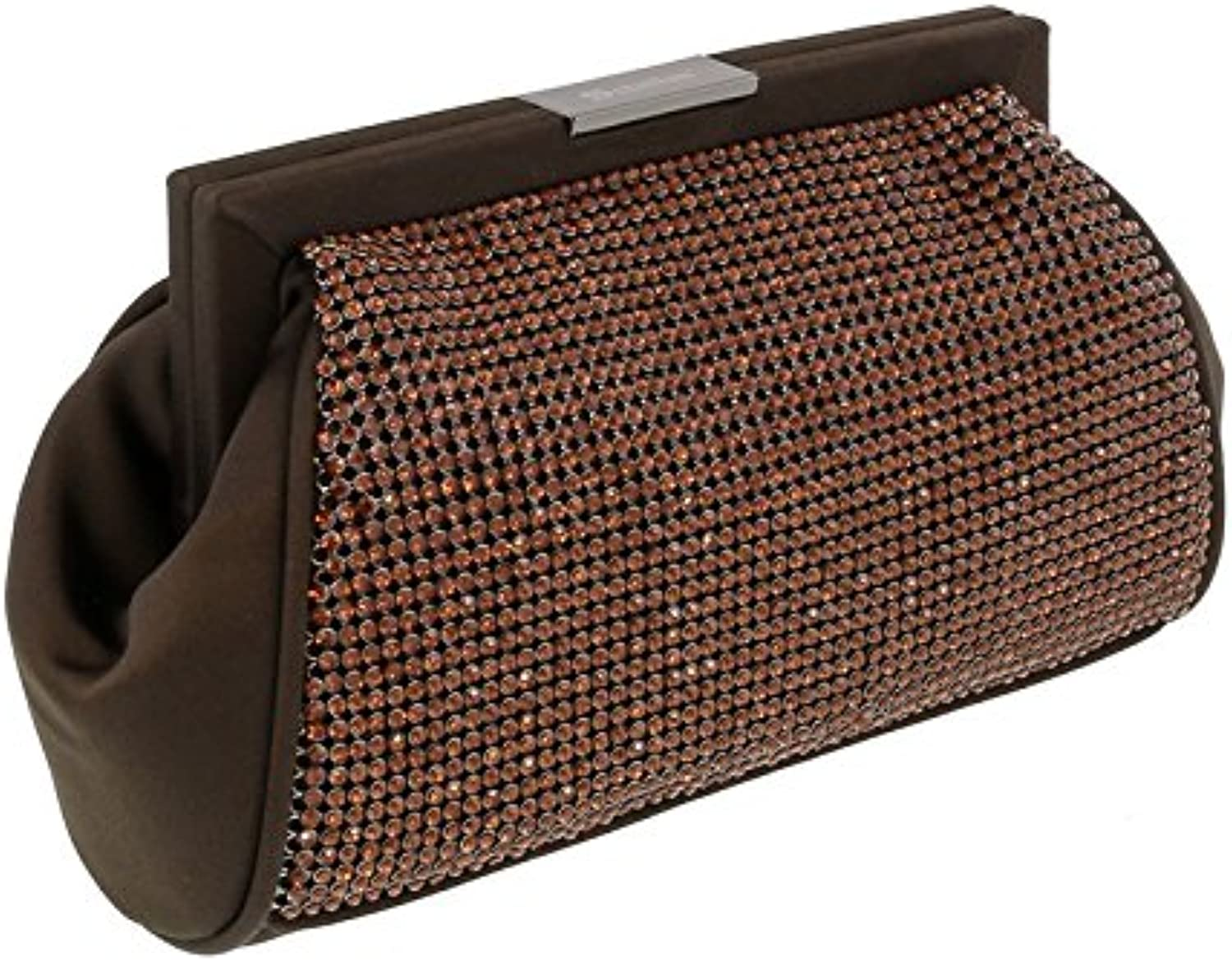 Scheilan Brown Fabric Double Sided Crystal Paneled Clutch Shoulder Bag for Womens