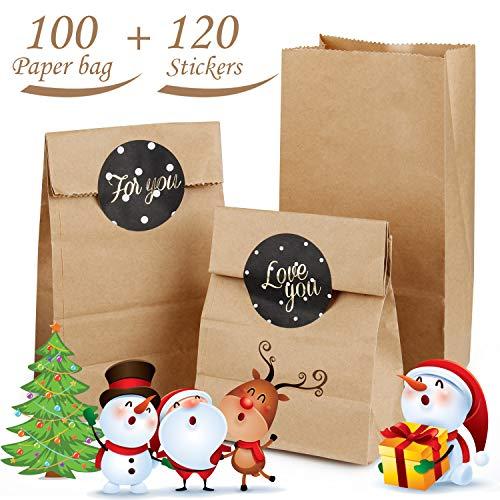AODOOR Kraftpapiertüten, 100 Kleine Braune Papiertüten Papierbeutel Kraftpapier für Geschenktüten, Gastgeschenke, Weihnachts-Geschenktüte, Geburtstag, Hochzeit, 9 x 18 x 5.5 cm
