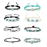 Finrezio Lot de 8 bracelets de cheville réglables pour femme et fille Motif tortue bohème étoile de mer