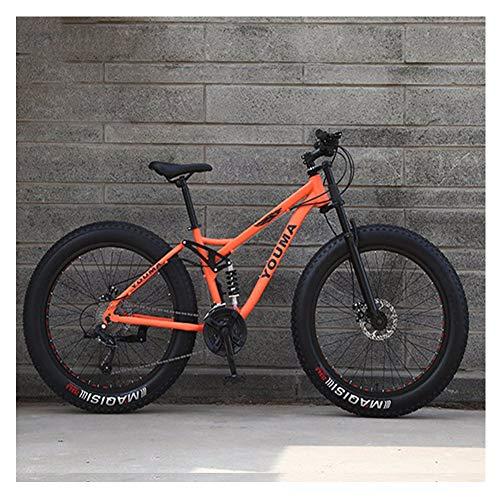 NENGGE Bicicleta BTT 26 Pulgadas Neumático Gordo para Adulto Hombre Mujer, Doble Suspensión Bicicleta Montaña con Freno Disco, Profesional Fibra de Carbono MTB Ciclismo,Naranja,24 Speed