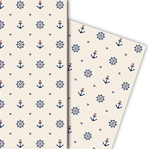 Maritimes Geschenkpapier Set (4 Bogen), Dekorpapier, Papier zum Einpacken mit Herz, Anker und Steuerrad, beige, universal Packpapier um schöner zu schenken 32 x 48cm