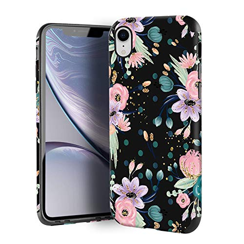 CUSTYPE Case for iPhone XR, iPhone XR Case Floral for Girls & Women, Floral Series Watercolor Camellia Flower Print Design PC Leather with TPU Bumper Slim Protective Cover for iPhone XR 6.1''