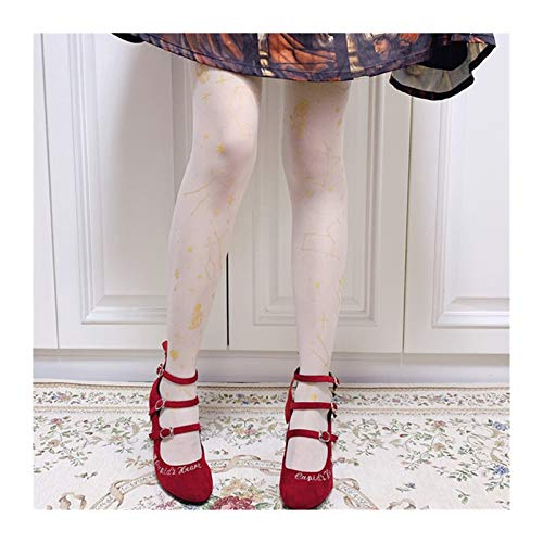 YUNGYE Frauen Lolita Vintag Patyhose Strümpfe Mädchen Schüler Thin Overknee-Socken Kawaii Gothic Harajuku Oberschenkel Socken Cosplay (Color : White H, Size : One Size)