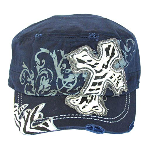 SILVERFEVER Women's Military Cadet Cap Hat - Patch Cotton - Studded & Embroidered (Navy, Cross Zebra Pattern)