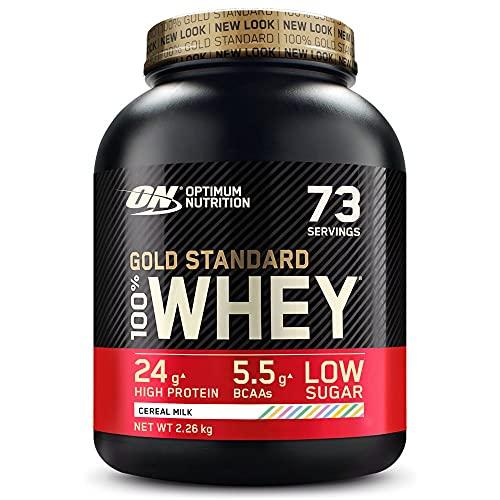 Optimum Nutrition ON Gold Standard Whey Protein Pulver, Eiweißpulver zum Muskelaufbau, natürlich enthaltene BCAA und Glutamin, Cereal Milk, 73 Portionen, 2,26kg, Verpackung kann Variieren