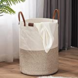 TECHMILLY Woven Laundry Hamper, Tall Cotton Rope Basket, Modern Dirty Clothes Hamper for College Dorm, Bathroom, Bedroom - 72L White/Brown