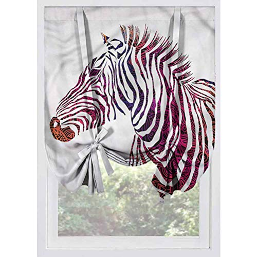 LCGGDB Animal Blackout Small Window Curtain,Ornamental Zebra Profile Thermal Insulated Tie Up Curtains Rod Pocket Short Curtains for Small Windows, Doors, French Doors, Kitchen Windows,39'x63'