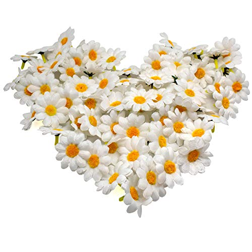 AKORD Approx 100pcs Artificial Gerbera Daisy Silk Flowers Heads for DIY Wedding Party (White), 3.9 x 3.9 x 2 cm