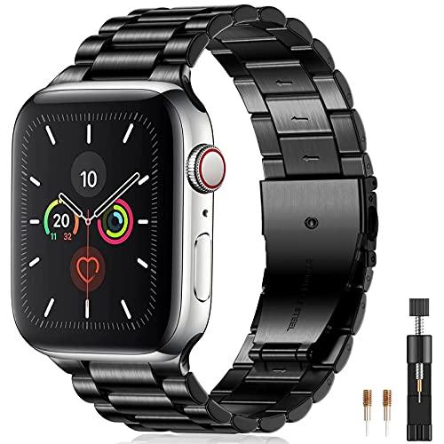 Netolo Metallo Compatibile con Cinturino Apple Watch 44mm 42mm 45mm, Cinturino in Acciaio Inossidabile Compatibile con Cinturino Apple Watch SE/iWatch Serie 7 6 5 4 3 2 1, 42mm/44mm/45mm Nero