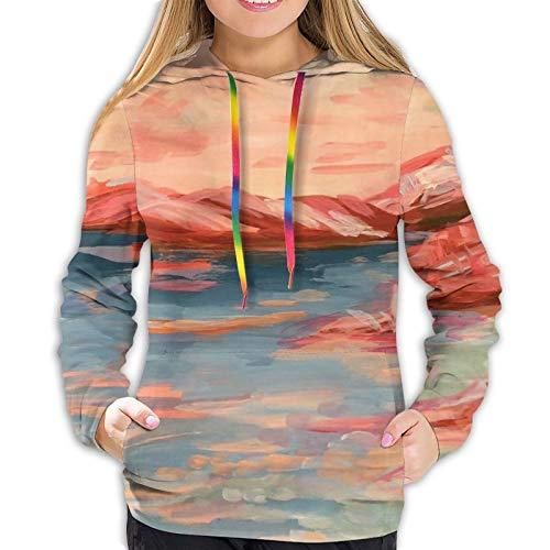 Coral Oasis - Sudadera de manga larga para mujer con capucha para primavera, otoño e invierno