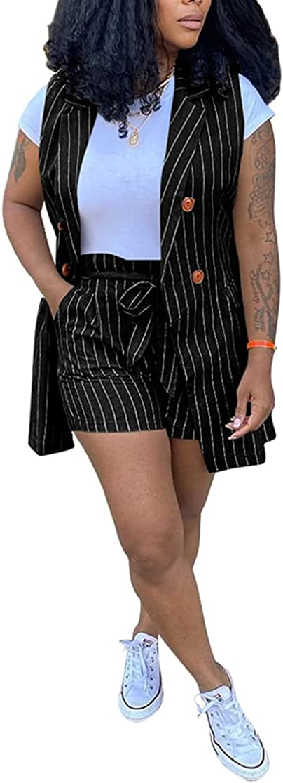 Casual 2 Piece Blazer Vest Suits for Women Stripes Print Sleeveless Buttons Blazer Jacket Shorts Sets Business Outfit