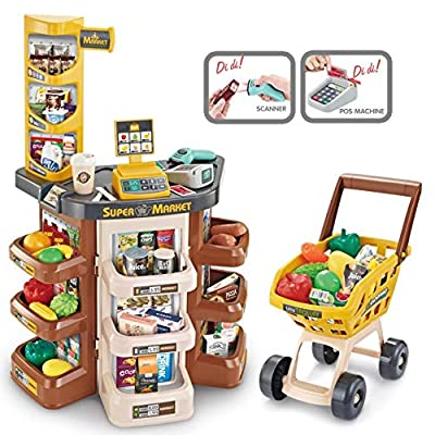 Shopping Grocery Play Store Set with Cart and S...