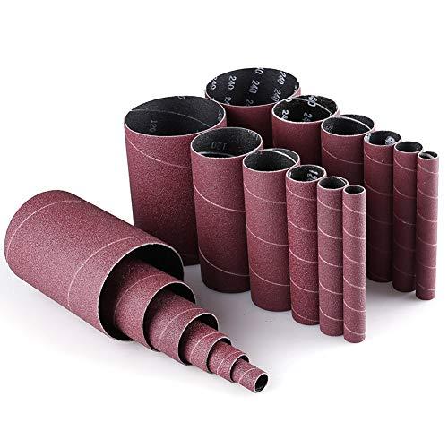 """Spindle Sander Sleeves, 18PCS Sanding Sleeves for Oscillating Sander, 80 120 240 Assorted Grit Sandpaper, 4-1/2"""" Length, 1/2"""",3/4"""",1"""",1-1/2"""", 2"""", 3"""" Diameter, by LotFancy"""