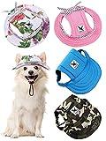 4 Berretti da Baseball per Animali Cappello da Principessa a Tesa Rotonda Completo di Protezione Solare da Sport all' Aperta con Tracolla Fori di Orecchie Regolabili di Cani (Camo, M)