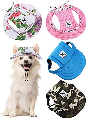 4 Stücke Haustier Baseball Hut Runde Krempe Prinzessin Kappe Outdoor Sport Sonnenschutz Kleidung mit Halsriemen Verstellbare Bequeme Ohrlöcher für Hunde (Camo, S)
