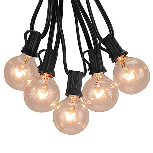 G40 Outdoor String Lights, Patio Globe String Lights with Clear Bulbs E12 Socket Base 50 Ft/Black for Indoor/Outdoor Commercial UL Listed Fences Patio Porch Backyard Deck Bistro Balcony Wedding Decor