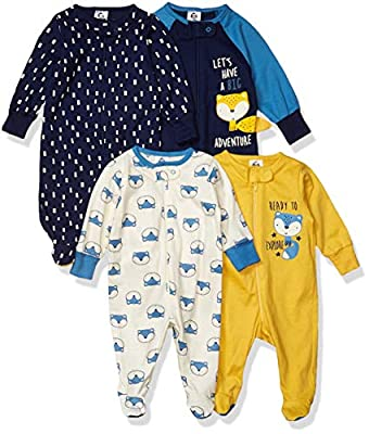 Gerber Baby Boys' 4 Pack Sleep N' Play Footie, Fox, 3-6 Months