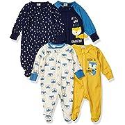 Gerber Baby Boys' 4 Pack Sleep N' Play Footie, Fox, 0-3 Months
