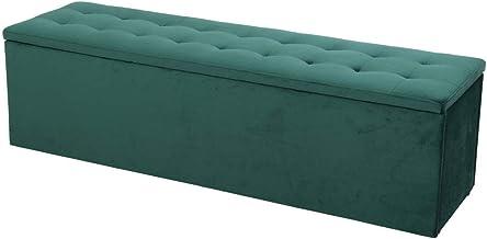 Artiss Storage Ottoman Velvet Blanket Box - Green
