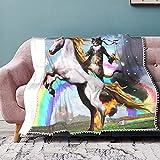 Manta suave con diseño de unicornio, fantasía, arco iris, manta cálida y acogedora, manta para cama, sofá, sofá de poliéster, microfibra ligera de 152 x 127 cm