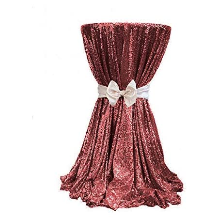48 inch Round Burgundy Sequined Tablecloth can be Used for Parties, Weddings, banquets and Other Activities