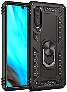 for Huawei P30 Pro Metal Ring Holder Case, Impact Resistant Silicone Suppost Back Cover Case for Huawei P30 Pro, Black Shell Case for Huawei P30 Pro
