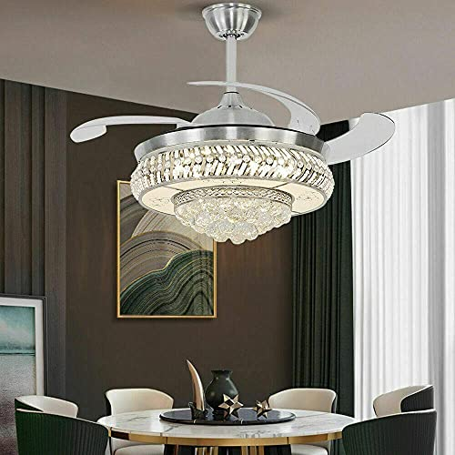 Beeki Ventilador de techo con luz y ventilador de techo de cristal de 36 pulgadas con luz, ventilador de techo silencioso retráctil, 4 cuchillas acrílicas invisibles, con control remoto, araña ajustab