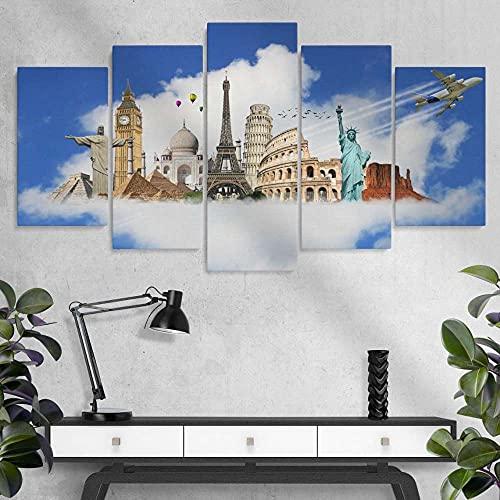 Quadro Moderno 5 Pannelli World Monuments World's Attrazioni del Collage World Travel Canvas Painting,5 Pezzi Quadri Moderni Dipinti Foto per Soggiorno Camera da Letto Divano TV Sfondo Gym Home Decor