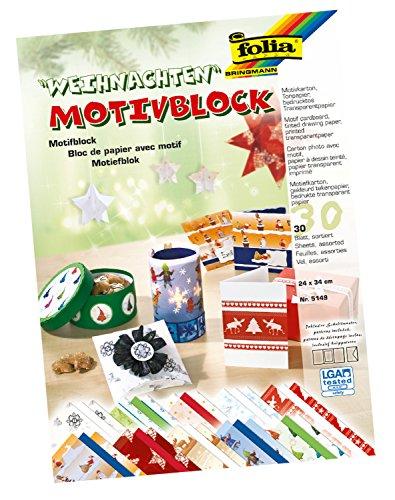 folia 5149 - Motivblock Weihnachten II, 24 x 34 cm, 30 Blatt, sortiert, 10 x Motivkarton, 10 x bedrucktes Transparentpapier, 10 x Tonpapier, für vielfältige Bastelarbeiten