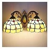 DALUXE Paredes de la Cabeza de Las Luces de Tiffany, 20 cm a Mano Lámpara de Cristal manchada, Espejo de baño Iluminación...
