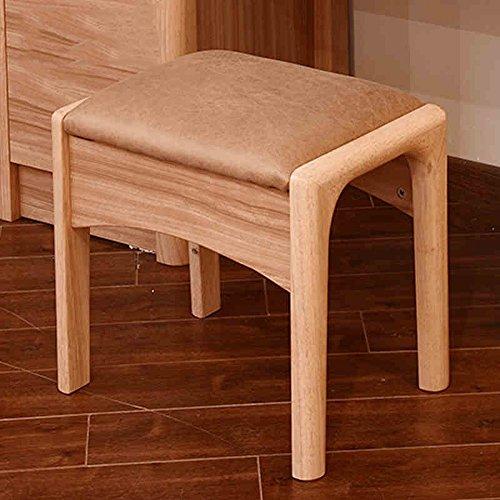 FEI Confortable Coiffeuse Tabouret Coussin en bois massif Coussin Chaise rembourrée Table H39.5X W43 X D31 Solide et durable
