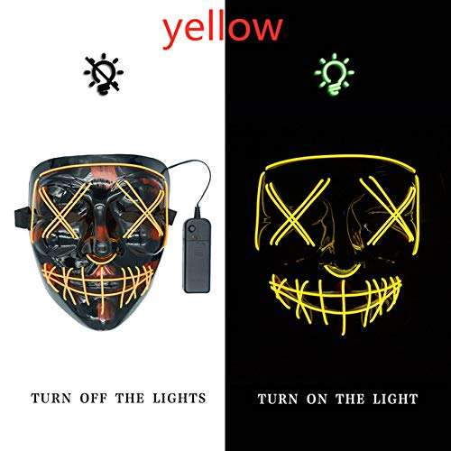 BFMBCHDJ LED Maskenlicht Halloween Neon Maske Leuchtend im Dunkeln Party Mascara Horror Mascara Horror Maske Karnevalsmaske Gelb Einheitsgröße