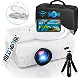 WIFI Bluetooth Projector Built in DVD Player, 7500LM Portable DVD Projector 1080P Supported, Full HD Projector for Outdoor Movies, 250' Home Theater, Compatible with iOS/Android/XBox/TV Stick/PS4/HDMI
