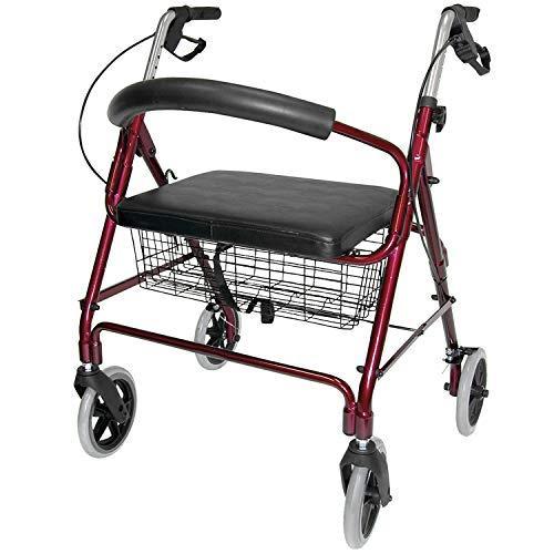 Duro-Med DMI Rollator Walker with Extra Wide Seat and Backrest, Adjustable Handle Height, Removable Storage Basket, Burgundy