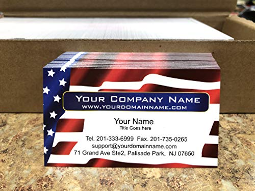 Custom Business cards, 500 Full color - American Flag -US Flag front-White back (129 lbs. 350gsm-Thick paper),Us flag, Patriot card - Made in The USA