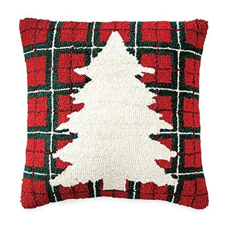 肉の上記の頭と肩ミサイルMud Pie Tartan Tree Wool Hooked Pillow Bed Accents [並行輸入品]