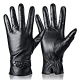 Womens Genuine Leather Gloves Winter Warm Cashmere Lining Touchscreen Texting Driving Motorcycle Dress Gloves Black