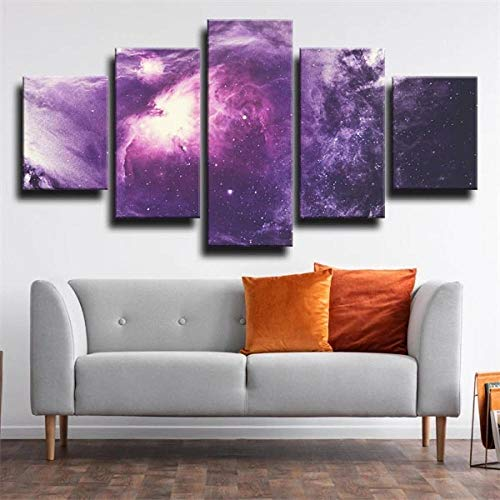 Cuadro En Lienzo Imagen Impresión Pintura Decoración Cuadro Moderno En Lienzo 5 Piezas XXL 150X80 Cm Luces Galaxy Purple HD Pintura Arte Marco PóSter Decoración Hogar Dormitorios Sala de Estar