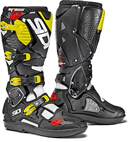 Price comparison product image Sidi Crossfire 3 SRS Motorcycle Boots White Black Yellow Fluo