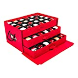 [Christmas Ornament Storage Box with Dividers] - (Holds 72 Ornaments up to 3 Inches in Diameter) | Acid-Free Removable Trays with Separators | 3 Removable Drawer Style Trays - (Red)