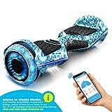 6,5' Hoverboard Bluewheel Premium | qualità Tedesca | Ruote Infinity LED & App | modalità sicura per Bambini | Altoparlanti Bluetooth | Self Balance Scooter a Doppio Motore (Blu Camouflage)