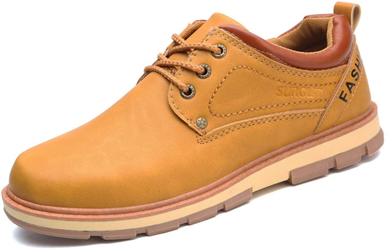 ZHRUI Men shoes Spring and Autumn Casual Fashion Safety Oxfords Breathable Flat Footwear pu Leather Waterproof shoes Men (color   Yellow, Size   9=43 EU)