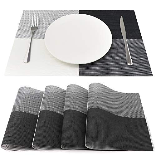 SueH Design Lot de 4 Sets de Table 45 * 30 CM Vinyle Tissé Or