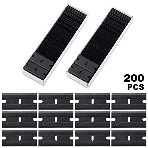 FOSHIO 200Pcs 1.5 Inch Universal Black Plastic Razor Scraper Blades for Safety Titan Scraper, Double Edged Plastic Scraper Blades Razor Decals Stickers Adhesive Label Glass Cleaner Remover Blades